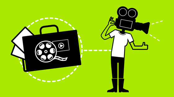 Icon showing camera operator with a portfolio and a film
