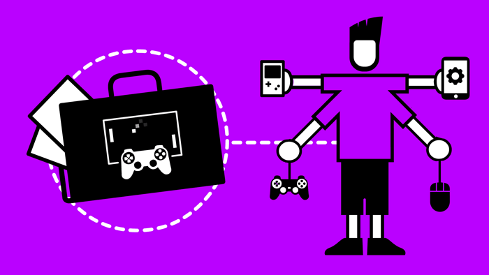 Icon showing a games programmer with a portfolio with a games console and control
