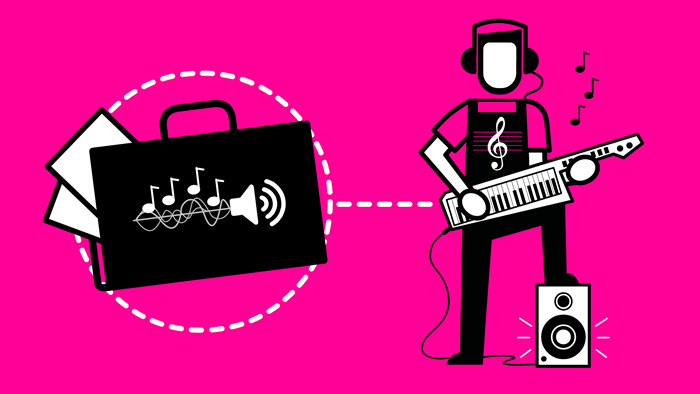 Icon showing a musician with an electric keyboard and a portfolio with sound waves